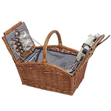 Picnic Baskets - 4 Person Picnic Basket With Handle Brown (43x30x40cmH)