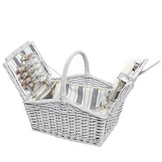 Picnic Baskets - 4 Person Picnic Basket With Handle Light Grey (43x30x40cmH)
