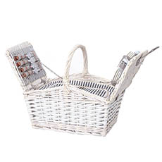 Picnic Baskets - 4 Person Picnic Basket With Handle White (43x30x40cmH)