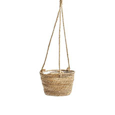Flower Planter Pots - Maya Grass hanging Basket Round Natural (20Dx14cmHx66TH)