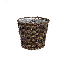 Seagrass Planter Round Dark Brown (17.5cmDx15cmH)