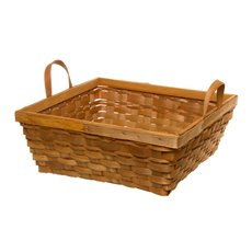 Woven Hamper Basket Square Brown (35x35x13cmH)