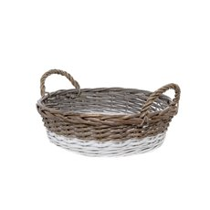 Two Tone Willow Basket Round Grey and White (35cmDx10cmH)