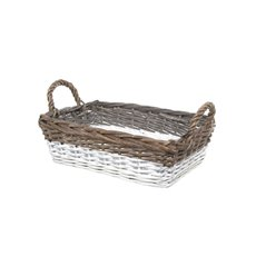 Two Tone Willow Basket Rectangle Grey and White(35x25x10cmH)