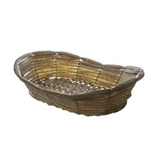 Hamper Tray & Gift Basket - Artificial Woven Hamper Oval Pewter (39X29X8/10cm)