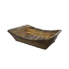 Hamper Tray & Gift Basket - Artificial Wicker Basket Hamper Rectangle Pewter (38X28X8cm)