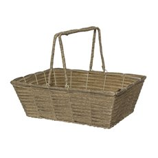 Artificial Woven Hamper Rectangle Pewter (40X29X13cm)
