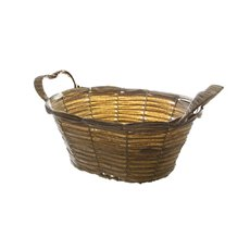 Hamper Tray & Gift Basket - Artificial Wicker Basket Hamper Oval Pewter (30X24X13cm)