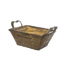 Hamper Tray & Gift Basket - Artificial Wicker Basket Hamper Rectangle Pewter(29X24X13cm)