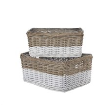 Two Tone Willow Basket Set of 2 Grey and White (40x30x18cmH)