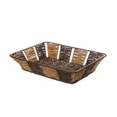 Hamper Tray & Gift Basket - Two Tone Rectangle Paper Rope Tray Yellow/Brown(37X27X8cm)