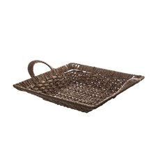 Two Tone Paper Rope basket Square Brown (31x31x5cmH)