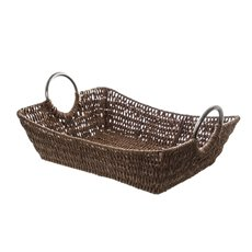 Paper Rope Tray w Metal Handles Rectangle Brown(34x27x9cm)