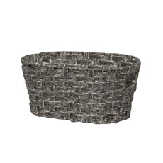 Hamper Tray & Gift Basket - Wicker Basket PVC Hamper Storage Oval Pewter (34X23.5x15cmH)