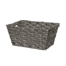 Hamper Tray & Gift Basket - Artificial Wicker Basket Hamper Rect Pewter (32X22x15cmH)