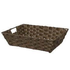 Hamper Tray & Gift Basket - Artificial Wicker Basket Hamper Rect Dark Brown(40x30x10cmH)