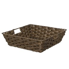 Hamper Tray & Gift Basket - Artificial Wicker Basket Square Dark Brown (34x34x10cmH)