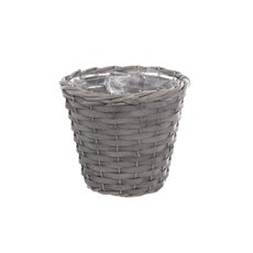 Natural Woven Planter Round Grey Wash (16cmDx14cmH)