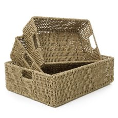 Hamper Tray & Gift Basket - Seagrass Tray Rectangle Set of 3 Natural (45x35x14cmH)