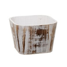 Wooden Planter Square Whitewash (17x17x11cmH)