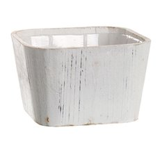 Wooden Planters Pot Covers - Wooden Planter Square Round PVC Insert 19.5x19.5x12cmH White