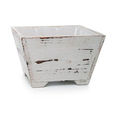 Wooden Planters Pot Covers - Wooden Pastel Planter Square PVC Insert 19x19x12cmH White