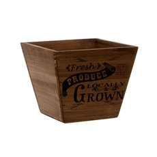 Wooden Planters Pot Covers - Fresh Produce Wooden Planter Taper Pot Brown (15.5x15.5cmH)