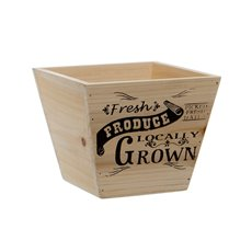 Wooden Planters Pot Covers - Fresh Produce Wooden Planter Taper Pot Natural(15.5x15.5cmH)