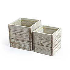 Wooden Planters Pot Covers - Wooden Fence Paling Box Set of 2 Grey Wash (15x15x15cmH)