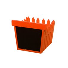 Wooden Fence Planter with Blackboard Orange (14x12.5x12cmH)
