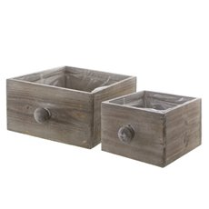 Wooden Planters Pot Covers - Wooden Drawer Planter Set of 2 Natural (20x19.5x11cmH)