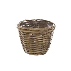 Flower Planter Pots - Cane Woven Planter Round Natural (18.5cmDx14cmH)