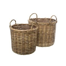 Cane Woven Storage Basket Round Set of 2 Natural (30Dx25cmH)