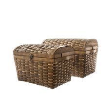 Woven Chest Hamper Light Copper Set of 2 (35x26x25cmH)
