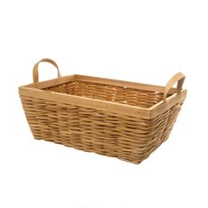 Woven Hamper Basket Rectangle Natural (36x25x14cmH)