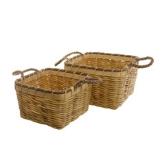 Woven Storage Basket Square Set of 2 Natural (28x28x18cmH)