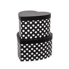 Gift Boxes Sets & Hat Boxes - Gift Flower Box Heart Shape Black White Dots (28x15cmH)Set 2