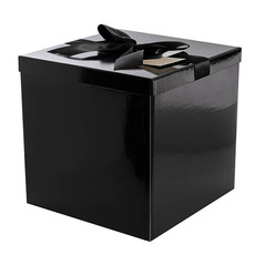 Gift Box and Lid - Flat Pack Gift Box Jumbo with Bow Black (305x305x300mmH)