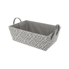 Fabric Hamper Basket Rectangle Grey (36x24x13cmH)