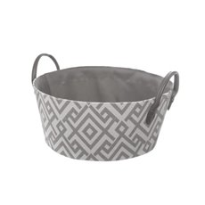 Fabric Hamper Basket Round Grey (30Dx13cmH)