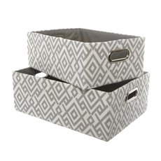 Fabric Storage Basket Rectangle Set of 2 Grey (40x30x15cmH)