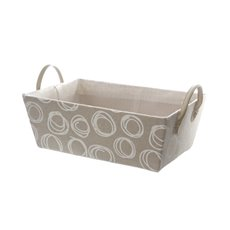 Fabric Hamper Basket Rectangle Pattern Beige (36x24x13cmH)