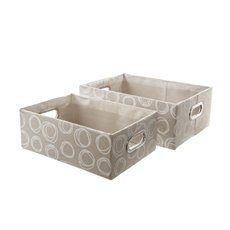 Fabric Storage Basket Rectangle Set of 2 Beige (40x30x15cmH)