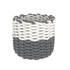 Flower Planter Pots - Cotton Rope Storage Basket Round White Grey 26x21cmH Set 2