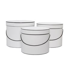 Hat Box Round Set of 3 White with Black Trim (30x25cmH)
