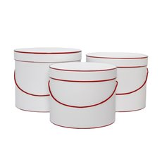 Hat Box Round Set of 3 White with Red Trim (30x25cmH)