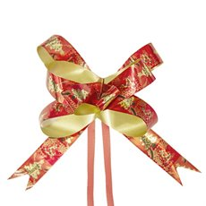Christmas Ribbon & Bows - Ribbon Pull Bow Tree Red (18mmx53cm) Pack 25