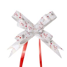 Christmas Ribbon & Bows - Ribbon Pull Bow Tree White (18mmx53cm) Pack 25