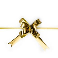 Pull Bows - Ribbon Pull Bow Metallic Gold (18mmx53cm) Pack 25