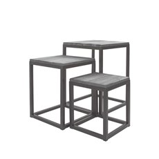 Merchandising Displays - Metal Display Stand Set 3 Natural Timber Grey